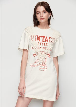 Lace Detail T-Shirt Dress