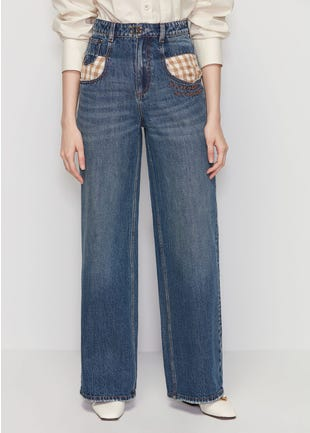 Checkered Pocket Jeans