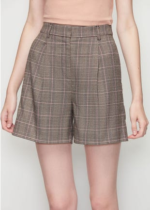 Checked Wide Leg Shorts