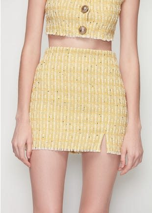Yellow Tweed Mini Skirt