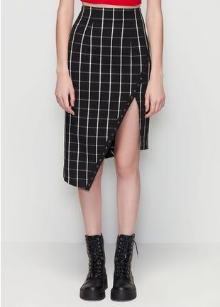 Checkered Asymmetric Skirt