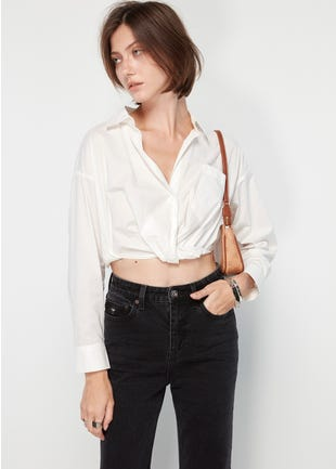 Cropped Button Up Shirt