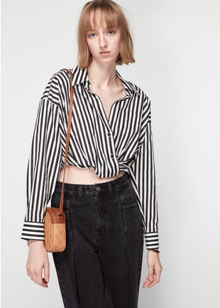 Striped Cropped Button Up Shirt