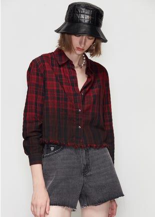 Ruffle Hem Flannel Shirt