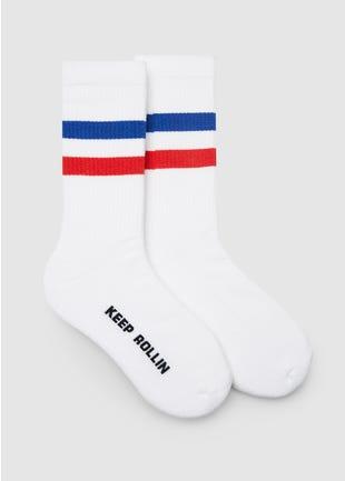 White Keep Rollin Socks