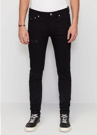 Black Distressed Super Skinny Jeans