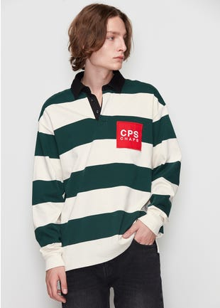 Striped Long Sleeve Rugby Polo