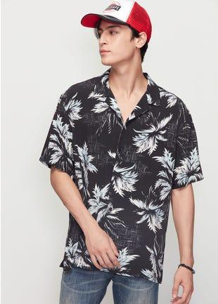 Black Floral Resort Shirt