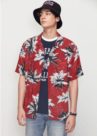 Red Floral Resort Shirt