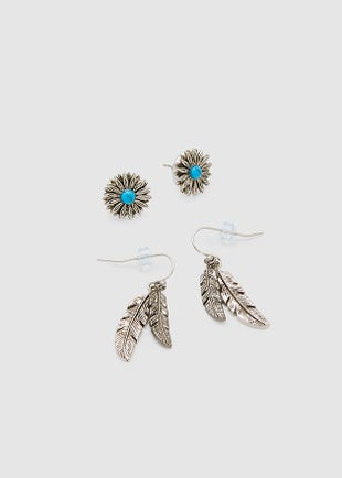 Silver Feathers Earring Set