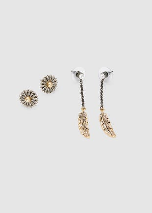 Gold Feathers Earring Set