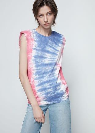 Multicolor Sleeveless Tie Dye Tee