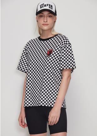 Oversized Checkered Tee