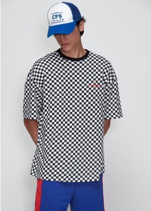 Embroidered Checkered Tee