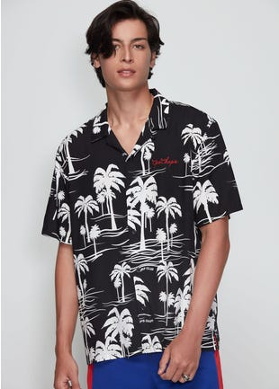 Embroidered Palm Tree Shirt