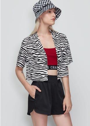 Cropped Zebra Print Shirt