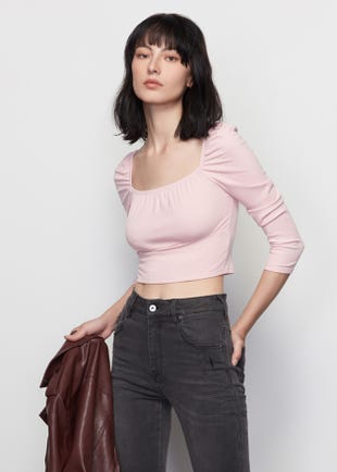 Cropped Square Neck Top