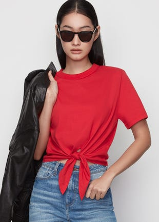 Cropped Tie Front Tee in Red