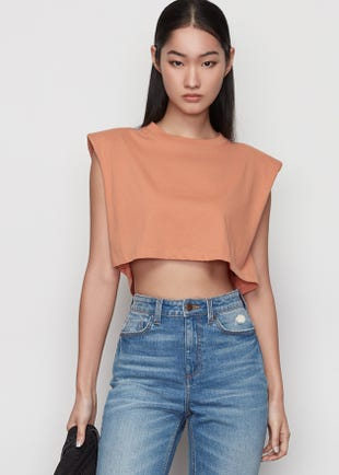 Cropped Sleeveless Tee in Brown