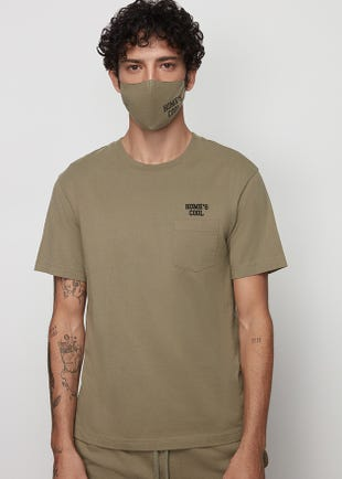 Green Pocket Tee with Matching Fabric Mask