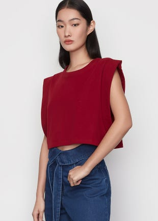 Folded Sleeve Crop Top in Red