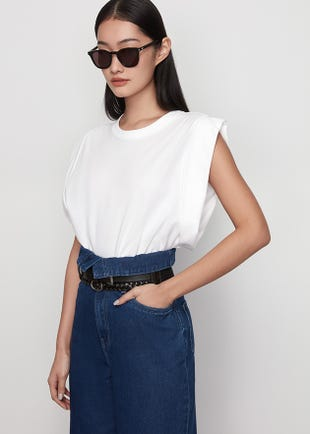 Folded Sleeve Crop Top in White