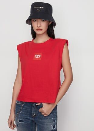 Sleeveless Red Logo Tee