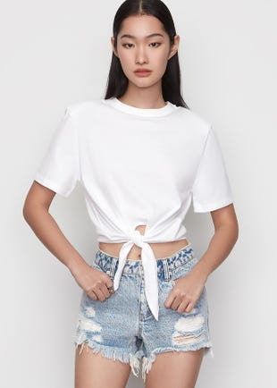 Cropped Tie Front Tee in White