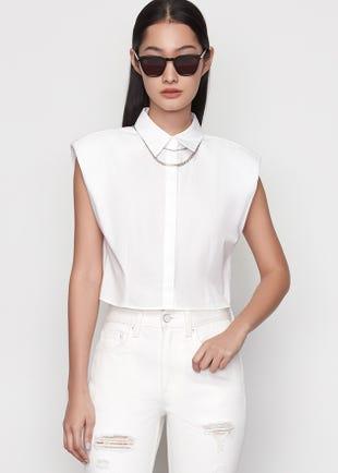 Sleeveless Poplin Shirt in White