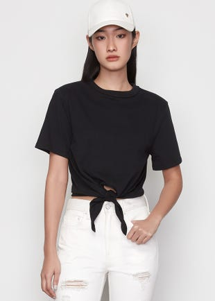 Cropped Tie Front Tee in Black