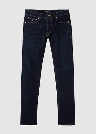 Dark Blue Button Fly Jeans