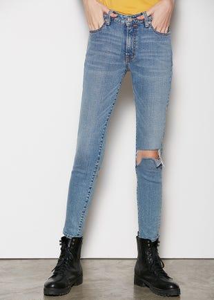 Light Blue Mid-Waist Skinny Jeans