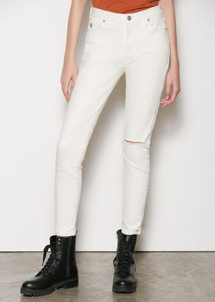 White Mid-Waist Skinny Jeans